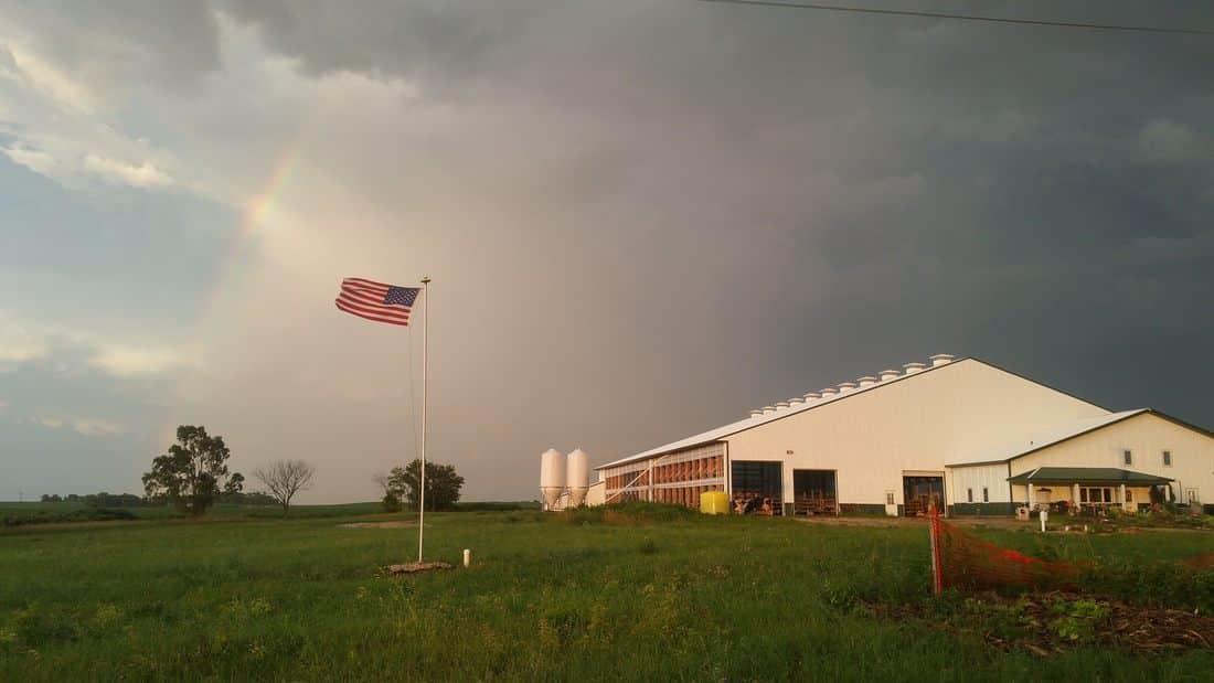 Flag outside Dairy Barn