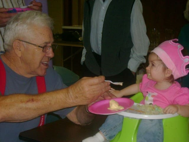Grandpa Feeding Ice Cream
