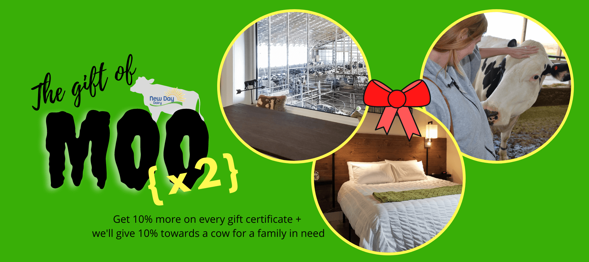 The Gift of Moo Ad with photos of girl petting cow, bedroom, and window looking into a barn.