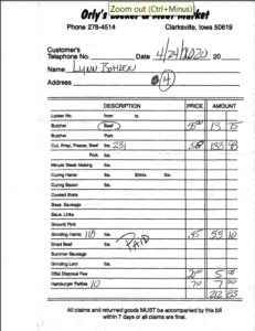 Receipt for Beef Processing