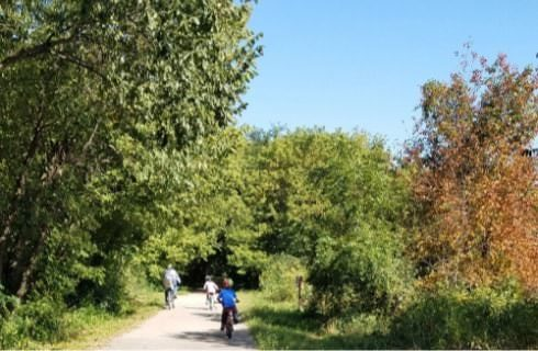 Bike path with surrounding trees with green and orange leaves with three people riding bikes
