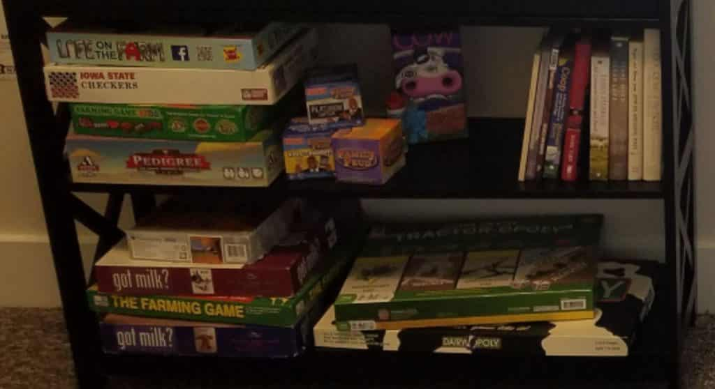 shelves with games, puzzles, DVD's, and books