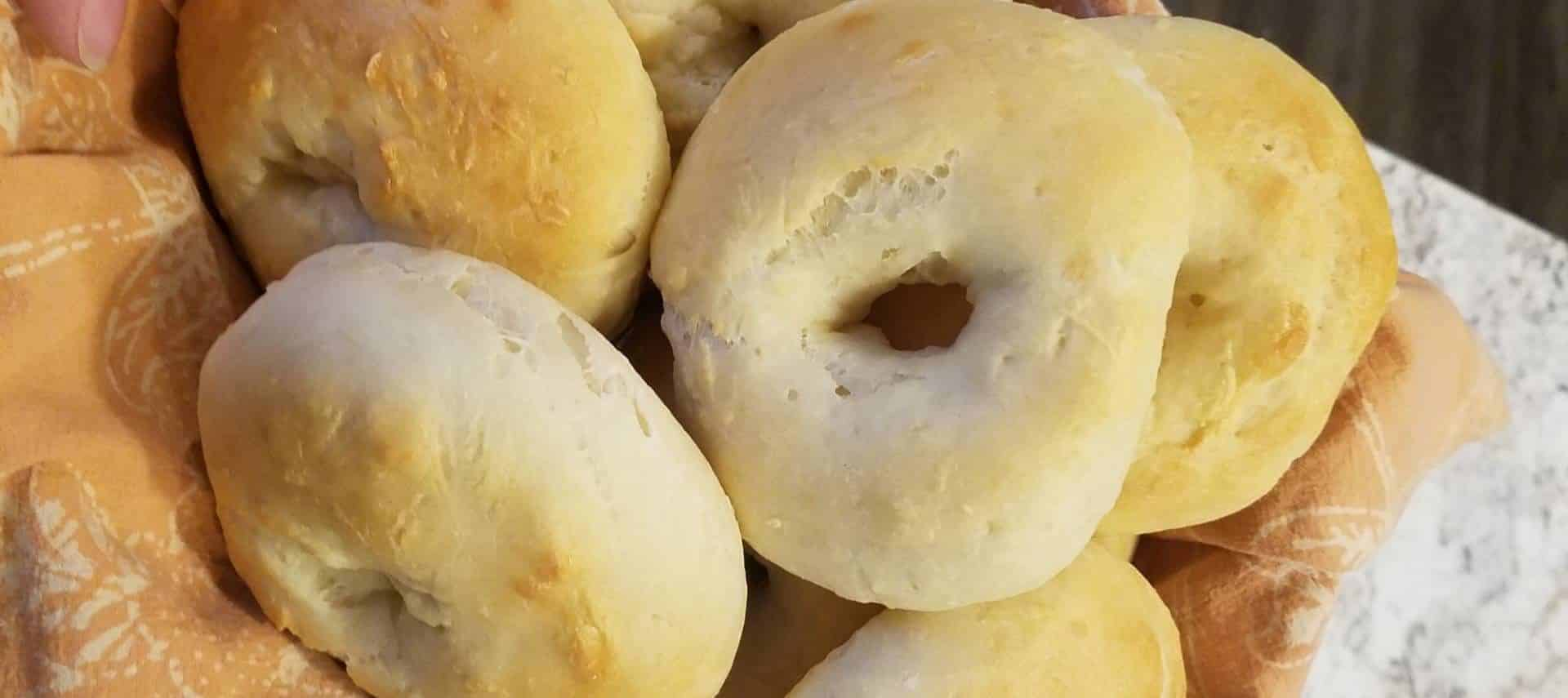 Close up view of bagels in a basket