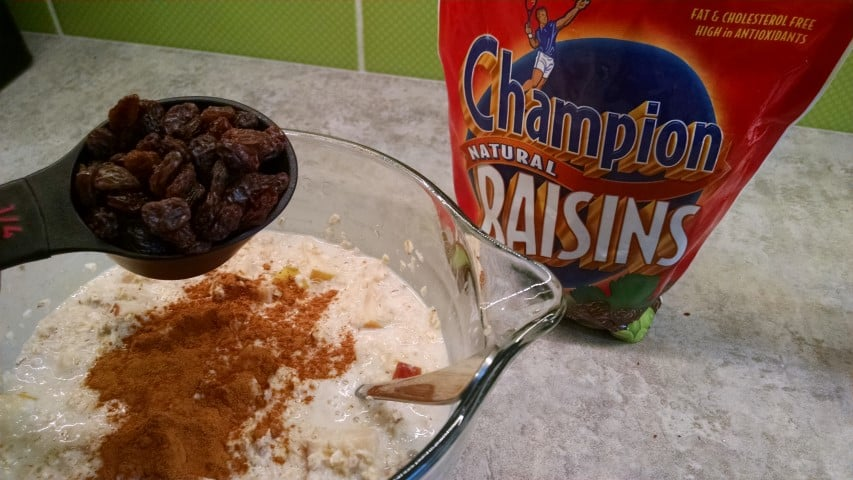 adding raisins & cinnamon