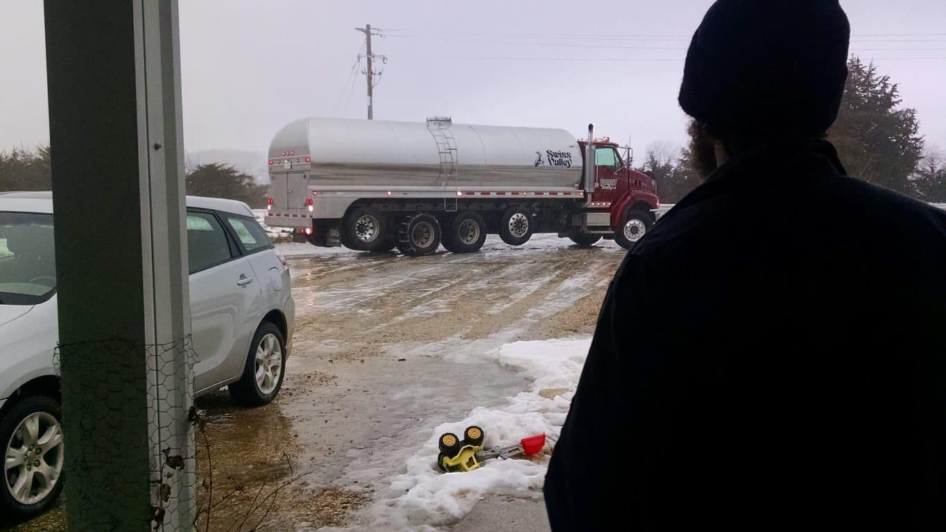 Milk Hauler Arriving in the Winter