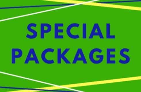 The text Special Packages in blue on a green background